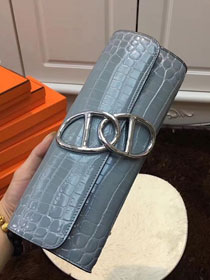 2017 hermes crocodile veins egee clutch E002 light blue