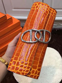 2017 hermes crocodile veins egee clutch E002 orange