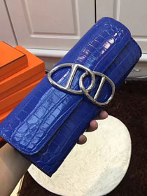 2017 hermes crocodile veins egee clutch E002 royal blue