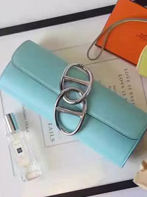 2017 hermes original leather full hand-made egee clutch E001 lake blue