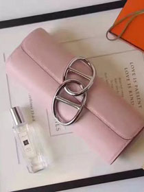 2017 hermes original leather full hand-made egee clutch E001 pink