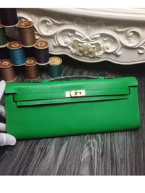 2017 hermes original epsom leather kelly cut 31 clutch H031 green