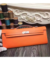 2017 hermes original epsom leather kelly cut 31 clutch H031 orange
