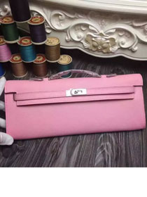 2017 hermes original epsom leather kelly cut 31 clutch H031 pink