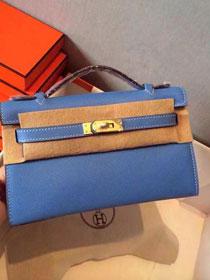 2017 hermes original epsom leather mini kelly 22 clutch K012 blue