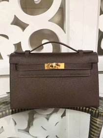 2017 hermes original epsom leather mini kelly 22 clutch K012 brown