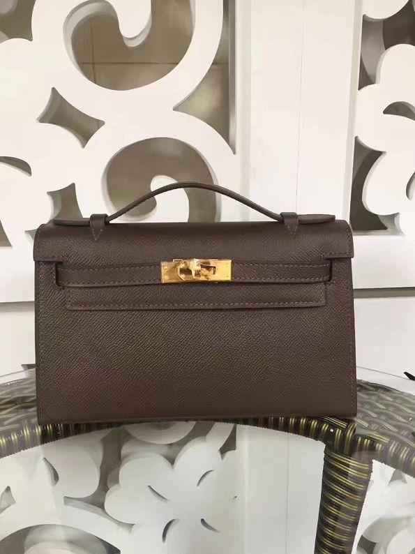 2017 hermes original epsom leather mini kelly 22 clutch K012 brown ced1cb7bf0