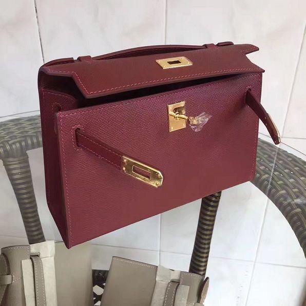 2017 hermes original epsom leather mini kelly 22 clutch K012 fuchsia deadae42f1