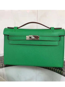 2017 hermes original epsom leather mini kelly 22 clutch K012 light green