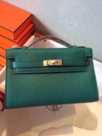 2017 hermes original epsom leather mini kelly 22 clutch K012 green