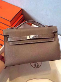2017 hermes original epsom leather mini kelly 22 clutch K012 grey