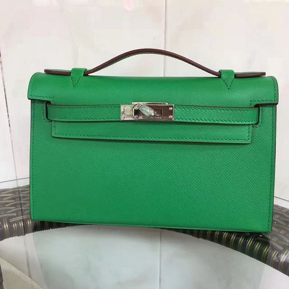2017 hermes original epsom leather mini kelly 22 clutch K012 light green 6a383fa901