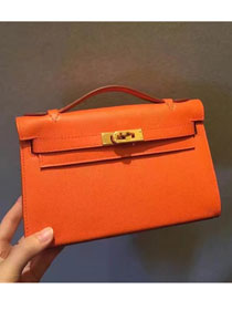 2017 hermes original epsom leather mini kelly 22 clutch K012 orange