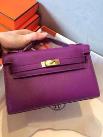 2017 hermes original epsom leather mini kelly 22 clutch K012 purple
