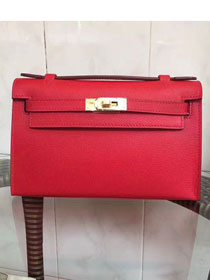 2017 hermes original epsom leather mini kelly 22 clutch K012 red