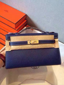 2017 hermes original epsom leather mini kelly 22 clutch K012 royal blue