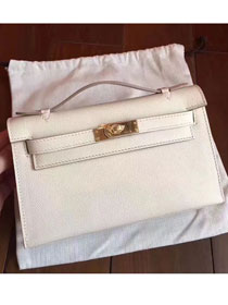 2017 hermes original epsom leather mini kelly 22 clutch K012 white