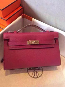 2017 hermes original epsom leather mini kelly 22 clutch K012 wine red