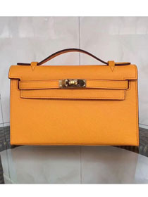 2017 hermes original epsom leather mini kelly 22 clutch K012 yellow