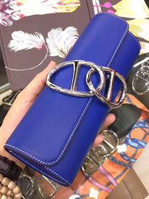 2017 hermes original leather full hand-made egee clutch E001 blue