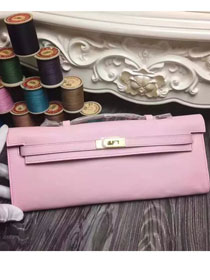 2017 hermes original swfit leather kelly cut 31 clutch H032 pink