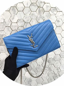 2017 ysl loulou chain bag original grained leather 360452 royal blue