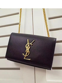 2017 ysl small kate satchel original grained leather 354121 black