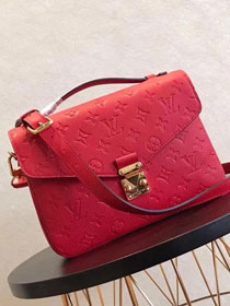 2017 louis vuitton original monogram empreinte pochette metis M44155 red