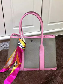 Hermes calfskin garden party 36 bag G036 gray&pink