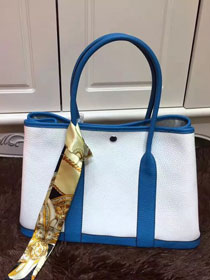 Hermes calfskin garden party 36 bag G036 white&lake blue