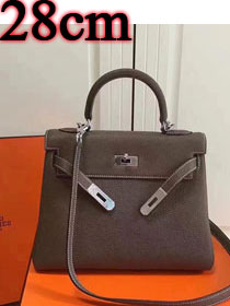 Hermes imported togo leather kelly 28 bag K0028 gray
