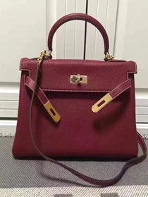Hermes imported togo leather kelly 32 bag K0032 burgundy