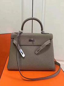 Hermes imported togo leather kelly 32 bag K0032 gray