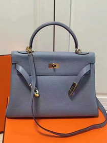 Hermes imported togo leather kelly 32 bag K0032 light blue