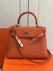 Hermes imported togo leather kelly 32 bag K0032 orange