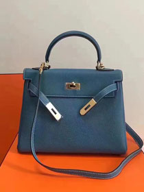 Hermes imported togo leather kelly 32 bag K0032 sky blue