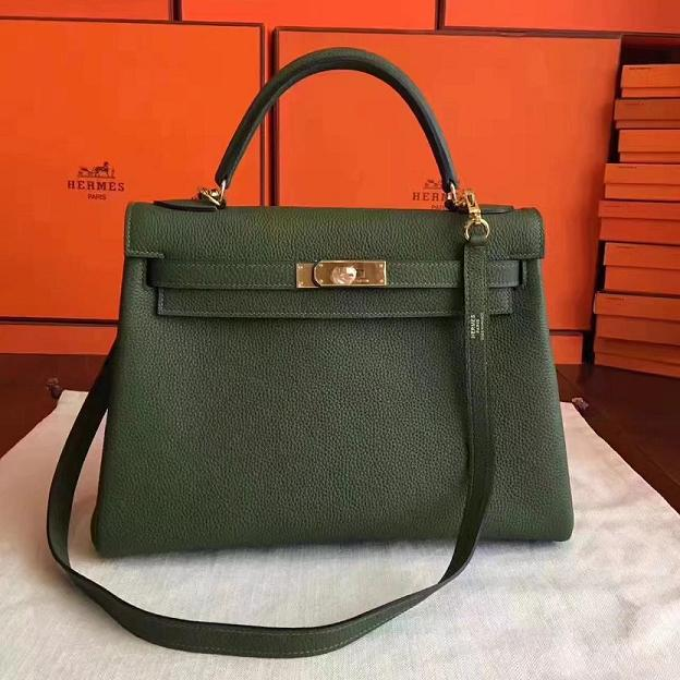 Hermes original togo leather kelly 28 bag K28 Olive
