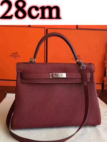 Hermes original togo leather kelly 28 bag K28 burgundy