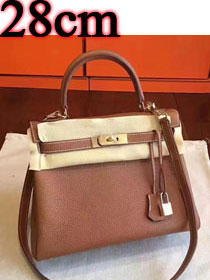 Hermes original togo leather kelly 28 bag K28 coffee