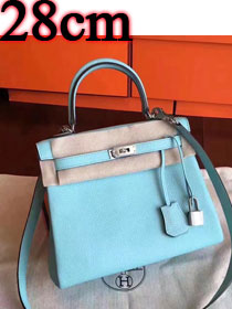 Hermes original togo leather kelly 28 bag K28 lake blue