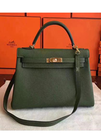 Hermes original togo leather kelly 32 bag K32 Olive