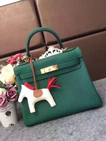 Hermes original togo leather kelly 32 bag K32 blackish green