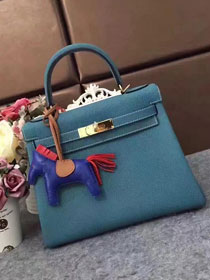 Hermes original togo leather kelly 32 bag K32 blue