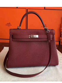 Hermes original togo leather kelly 32 bag K32 burgundy
