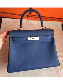 Hermes original togo leather kelly 32 bag K32 deep blue