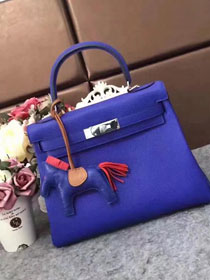 Hermes original togo leather kelly 32 bag K32 electric blue