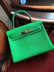 Hermes original togo leather kelly 32 bag K32 green