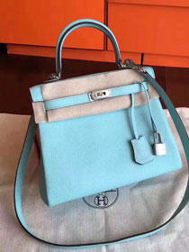 Hermes original togo leather kelly 32 bag K32 lake blue