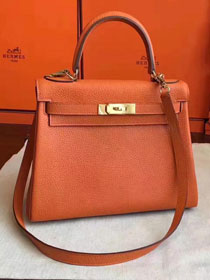 Hermes original togo leather kelly 32 bag K32 orange