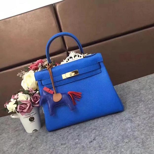 Hermes original togo leather kelly 32 bag K32 royal blue